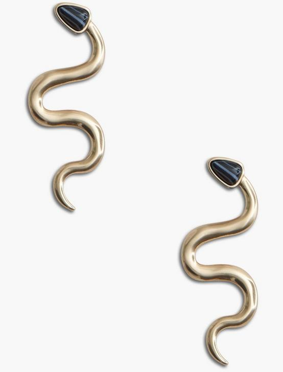 BLACK AGATE SNAKE EARRING, GOLD, productTileDesktop