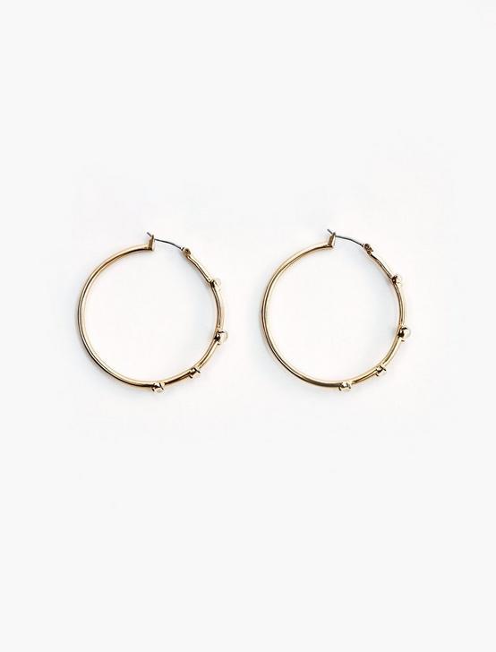 Mother of Pearl Hoop Earrings, GOLD, productTileDesktop