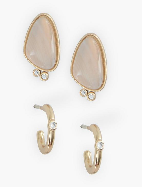 AGATE AND PAVE EARRING SET, GOLD, productTileDesktop