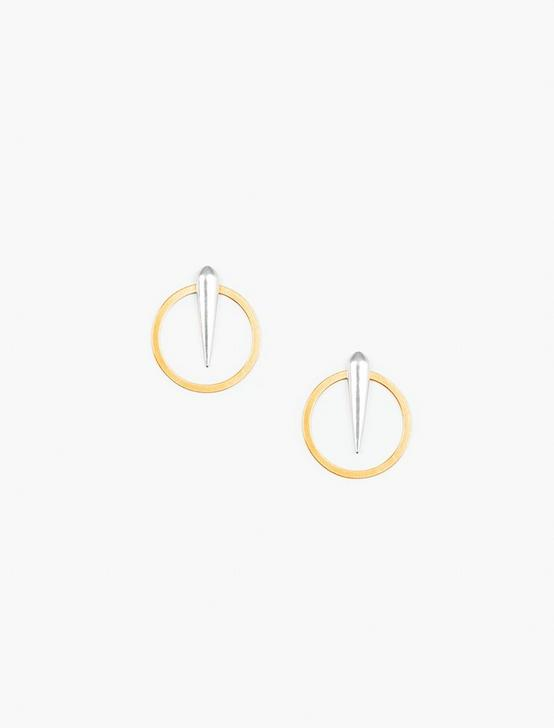 SPIKE STUD AND HOOP EARRING SET, TWO TONE, productTileDesktop