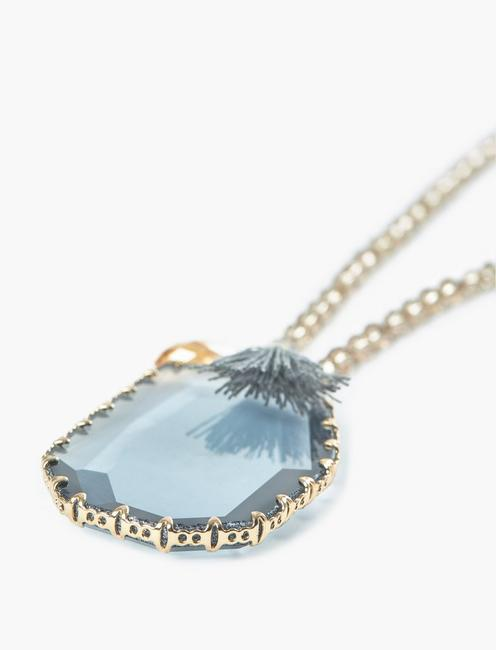 GLASS CHARM PENDANT NECKLACE, TWO TONE