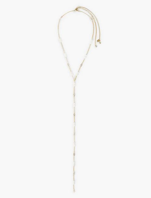 PEARL AND PAVE LARIAT NECKLACE, GOLD