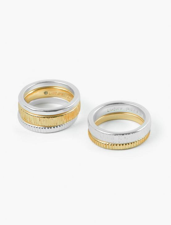 TEXTURED STACK RING SET, TWO TONE, productTileDesktop