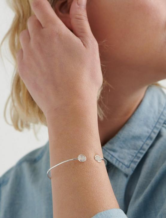 SIMPLE MOONSTONE CUFF, SILVER, productTileDesktop
