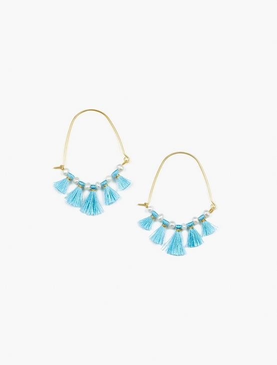 BLUE TASSLE EARRINGS, GOLD, productTileDesktop