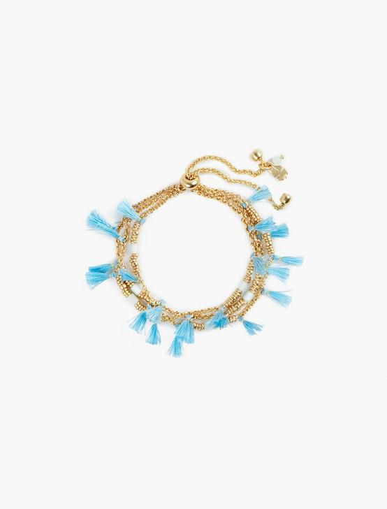 BEADED TASSEL BRACELET, GOLD, productTileDesktop