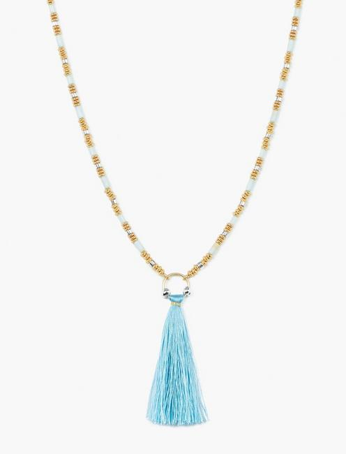 BEADED TASSLE NECKLACE, TWO TONE