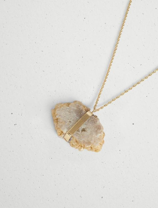 WHITE AGATE PENDANT NECKLACE, GOLD, productTileDesktop