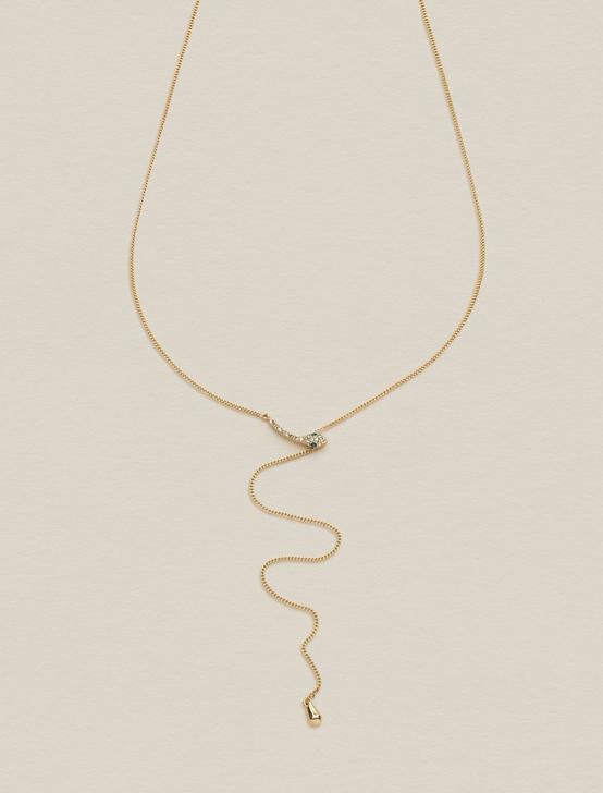SNAKE PAVE Y NECKLACE, GOLD, productTileDesktop