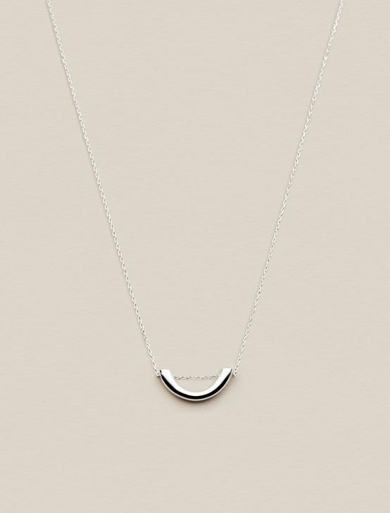 GEOMETRIC HALF CIRCLE NECKLACE, SILVER, productTileDesktop
