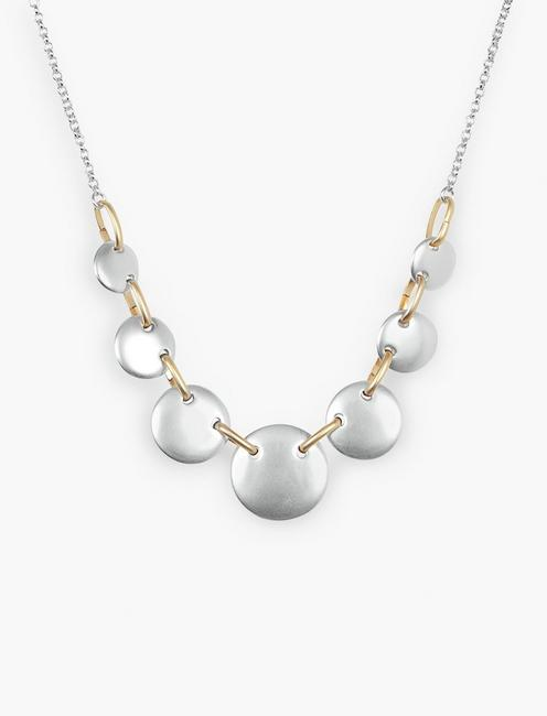 DISC COLLAR NECKLACE, TWO TONE