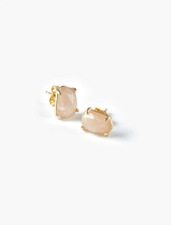 Rose Quartz Stud Earrings, GOLD, productTileDesktop