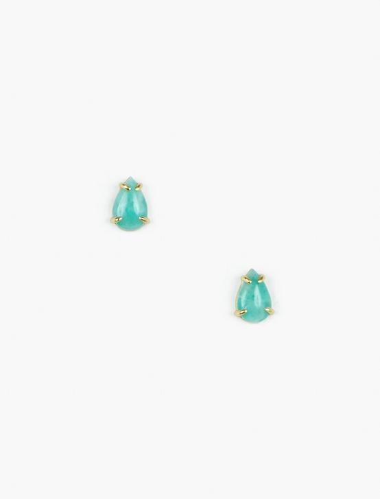 Amazonite Stud Earrings, GOLD, productTileDesktop