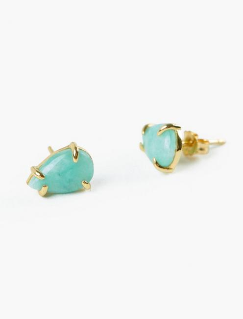 Amazonite Stud Earrings, GOLD