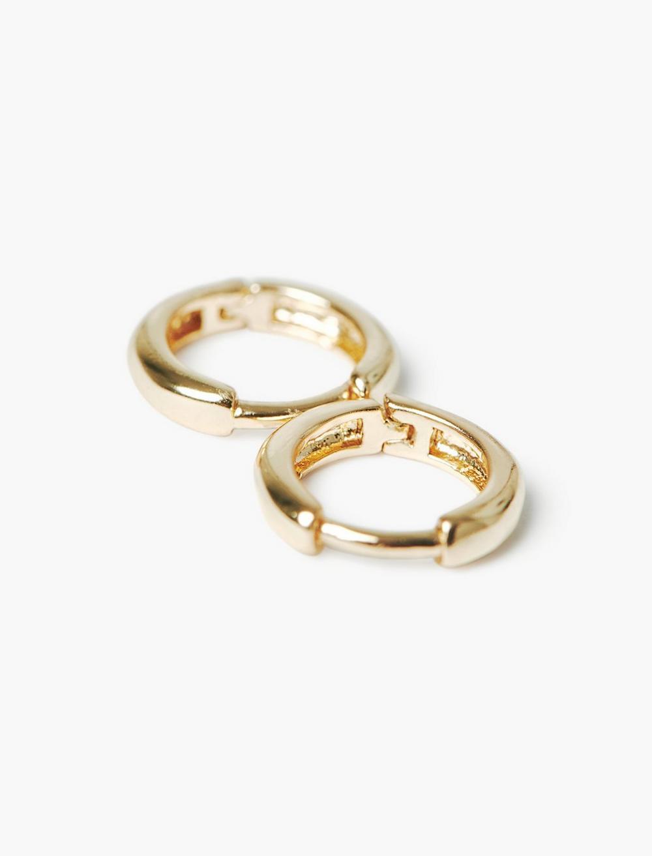GOLD HOOP HUGGIE EARRINGS, image 1