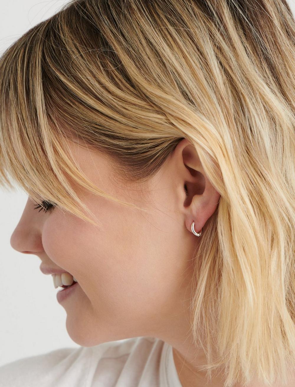 SILVER HOOP HUGGIE EARRINGS, image 2