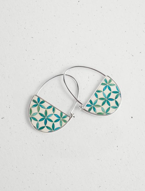 MOSAIC REVERSIBLE HOOP EARRINGS, SILVER, productTileDesktop