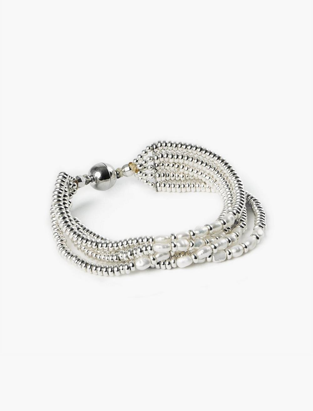 PEARL AND SILVER BEADED BRACELET, image 1