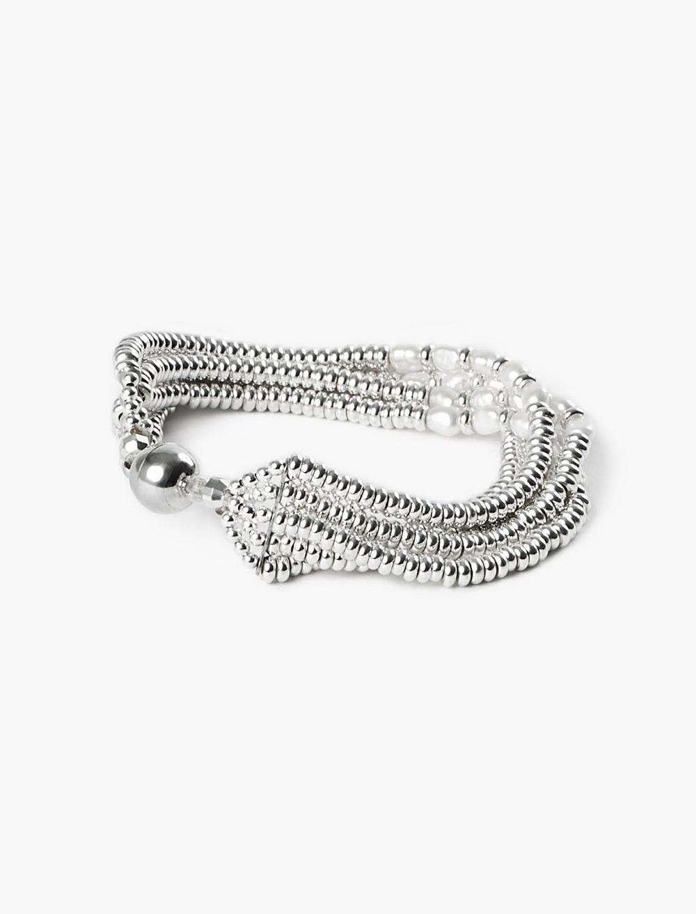 PEARL AND SILVER BEADED BRACELET, image 2