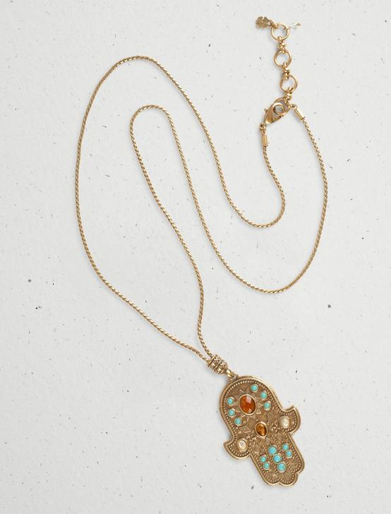 LKY MULTI STN HAMSA NECKLACE, GOLD, productTileDesktop