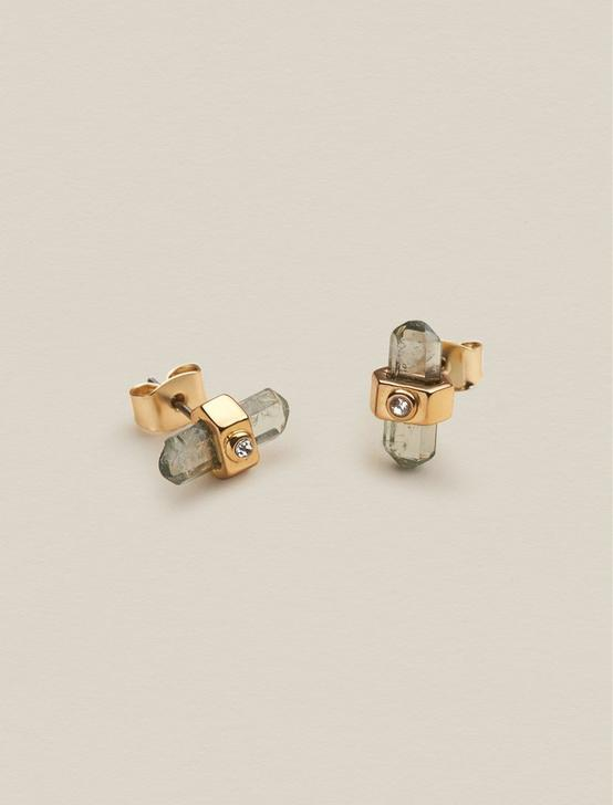 WRAPPED STONE STUDS, GOLD, productTileDesktop