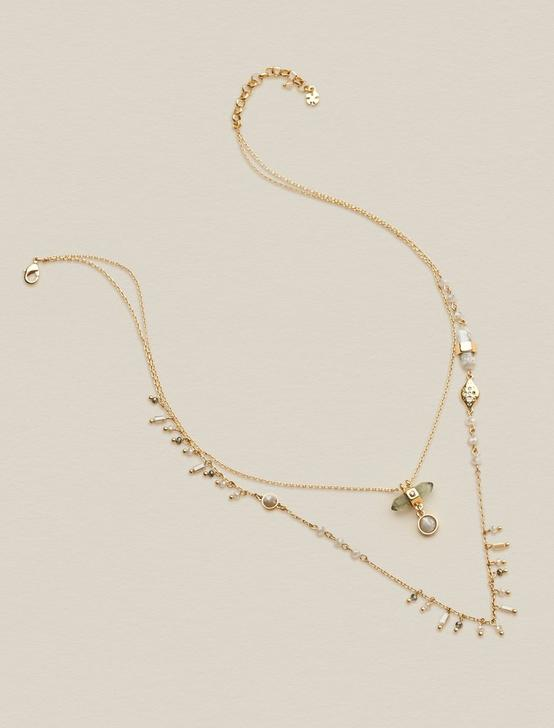 DELICATE STONE LAYER NECKLACE, GOLD, productTileDesktop