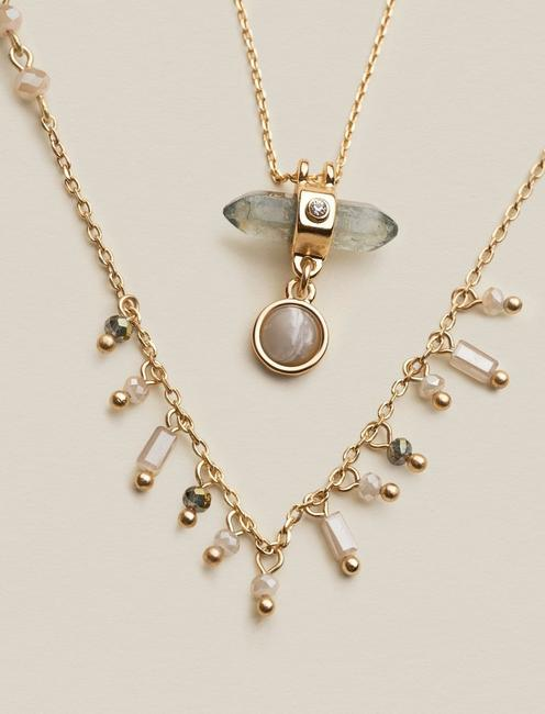 DELICATE STONE LAYER NECKLACE, GOLD