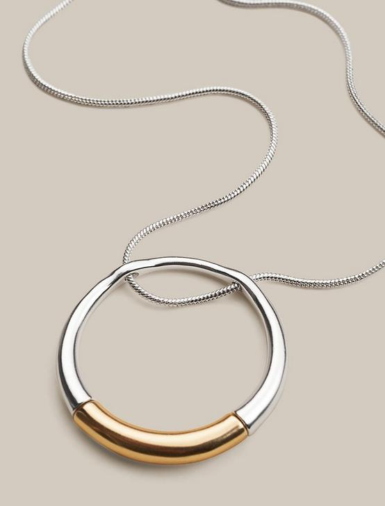 MODERN CIRCLE PENDANT NECKLACE, TWO TONE, productTileDesktop