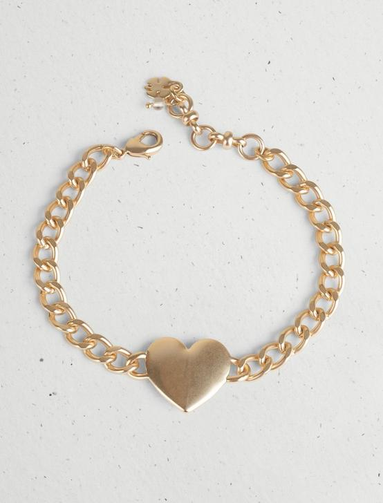 HEART ID CHAIN LINK BRACELET, GOLD, productTileDesktop
