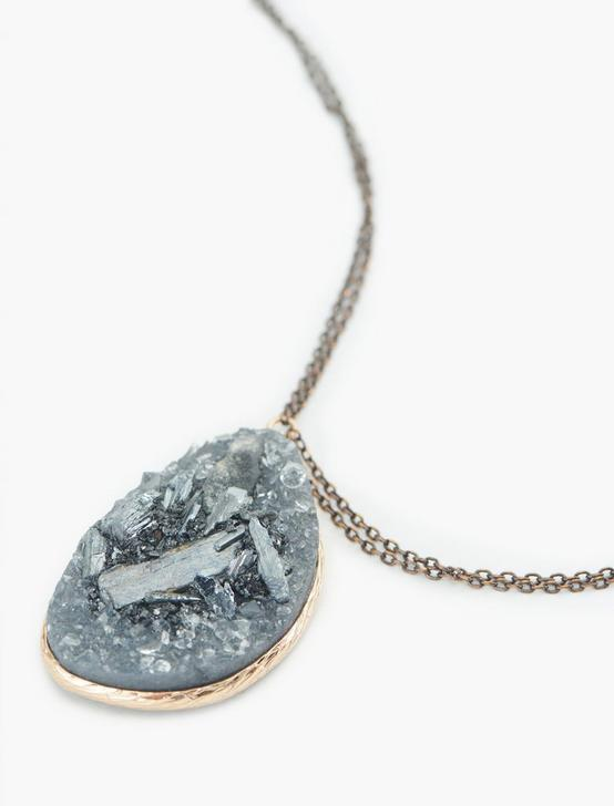 Druzy Pendant Necklace, TWO TONE, productTileDesktop