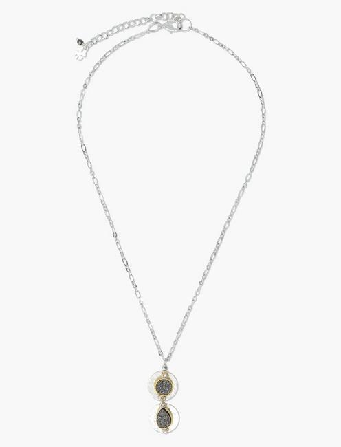 Druzy Collar Necklace, TWO TONE