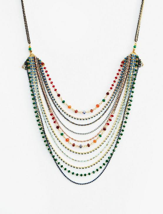 MULTI LAYER BEADED NECKLACE, GOLD, productTileDesktop
