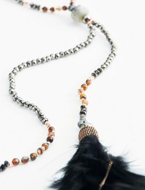 FEATHER TASSEL NECKLACE, TWO TONE
