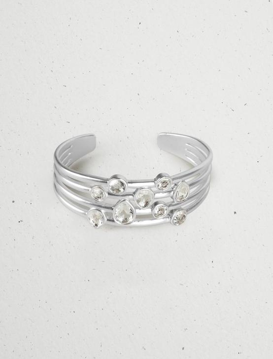CRYSTAL LAYER STATEMENT CUFF, SILVER, productTileDesktop