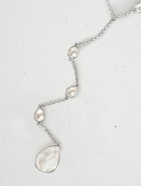 CRYSTAL Y NECKLACE, SILVER, productTileDesktop