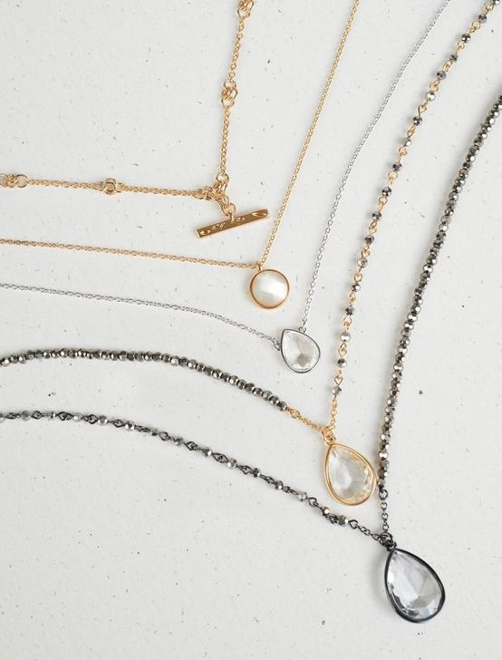CRYSTAL PAVE DRAMA LAYER NECKLACE, TWO TONE, productTileDesktop