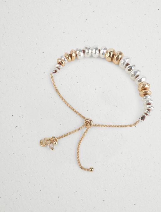 METAL BEADED SLIDER BRACELET, TWO TONE, productTileDesktop