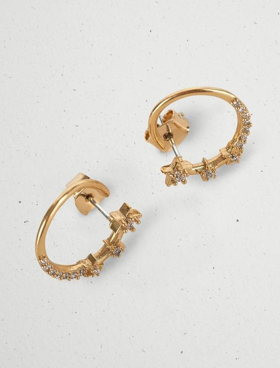PAVE CIRCLE STUD EARRINGS, GOLD, productTileDesktop