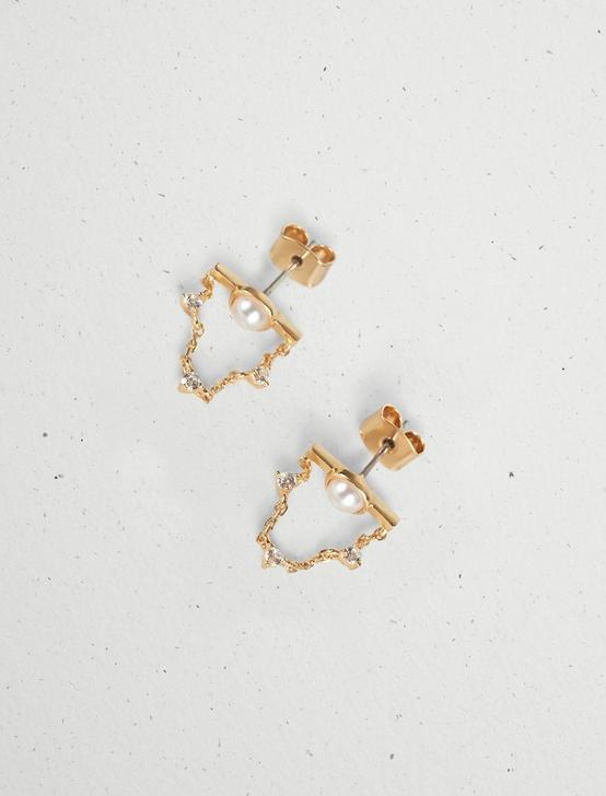 PAVE PEARL CHAIN STUD, GOLD, productTileDesktop