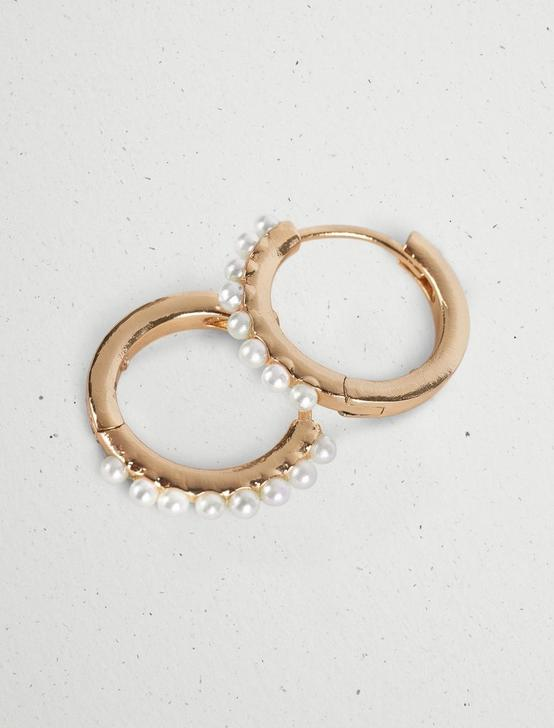 PEARL HUGGIE HOOPS, GOLD, productTileDesktop