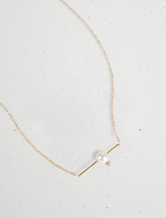 PEARL COLLAR BAR NECKLACE, GOLD, productTileDesktop