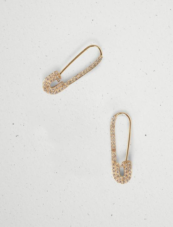 PAVE SAFETY PIN EARRINGS, GOLD, productTileDesktop