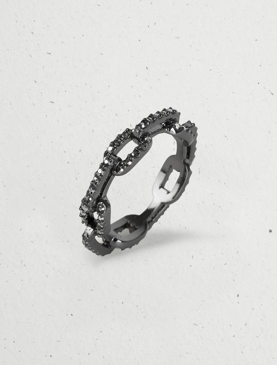 OXIDIZED PAVE CHAIN RING, SILVER, productTileDesktop