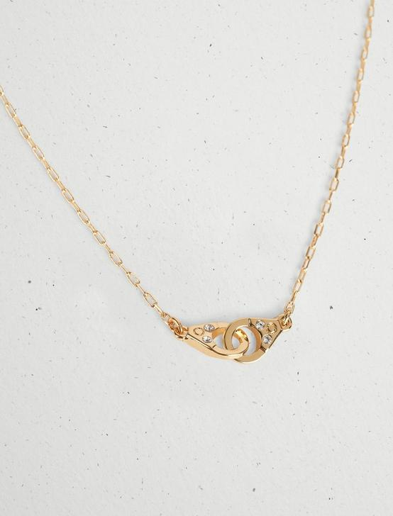 PAVE HANDCUFF NECKLACE, GOLD, productTileDesktop