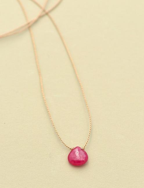 Britta Ambauen Ruby Teardrop Necklace, GOLD