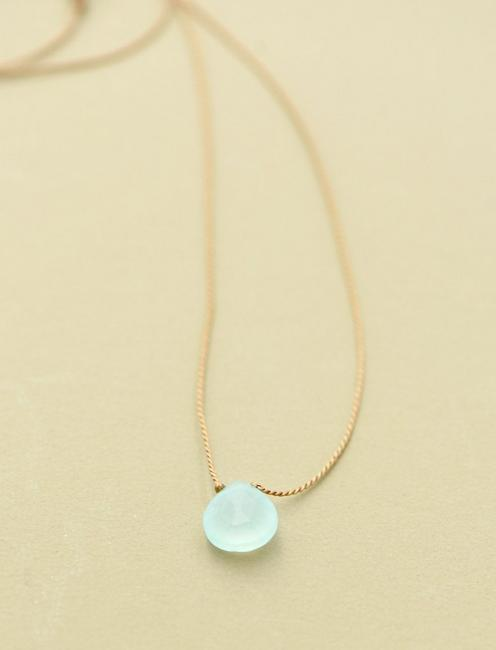 Britta Ambauen Blue Chalcedony Teardrop Necklace, GOLD