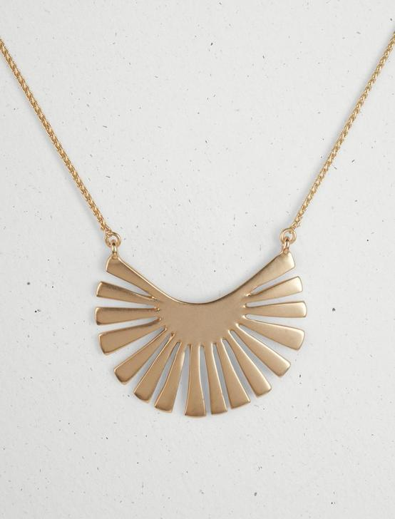 SUNBURST BASIC PENDANT NECKLACE, GOLD, productTileDesktop