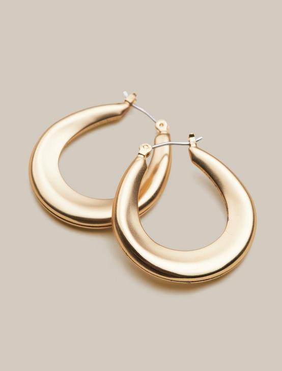 TAPERED HOOP EARRINGS, GOLD, productTileDesktop