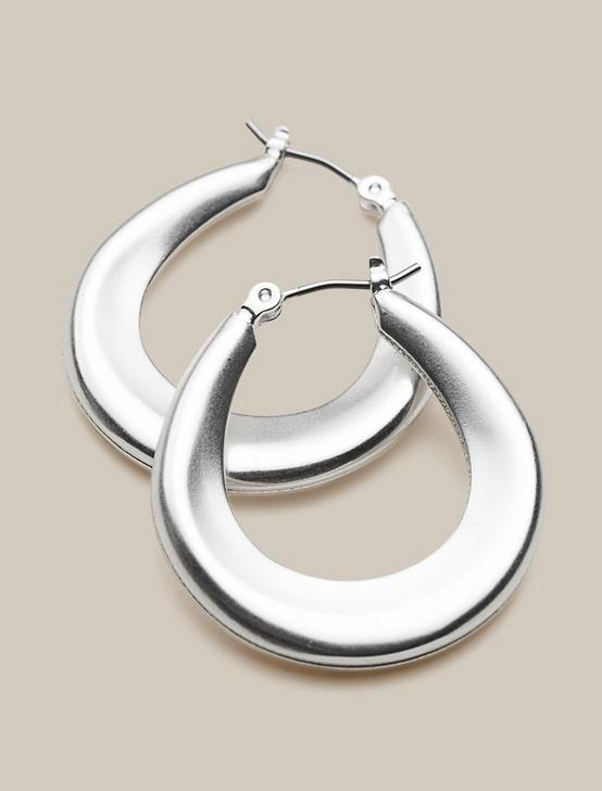 TAPERED HOOP EARRINGS, SILVER, productTileDesktop