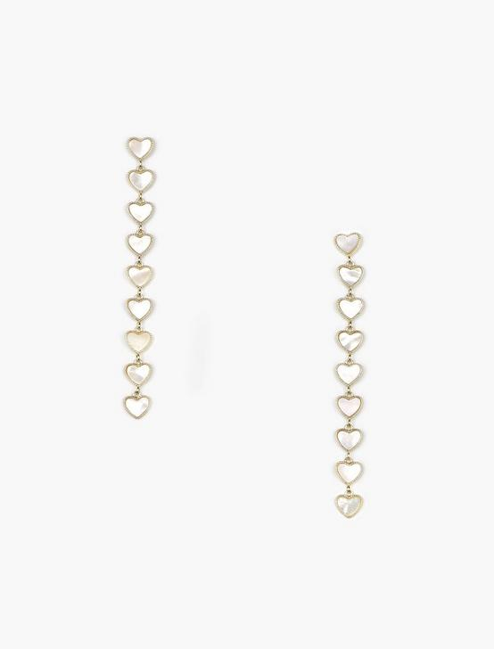 HEART CHAIN LINEAR DROP EARRINGS, GOLD, productTileDesktop